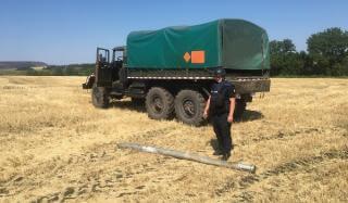 В Константиновском районе комбайнер обнаружил в поле реактивный снаряд
